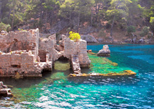 Byzantine ruins of 5 churches & a processional walkway at Gemiler Island near Olu Deniz